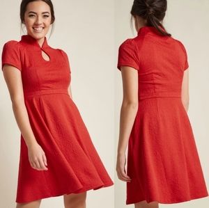 Modcloth red high society keyhole a line dress